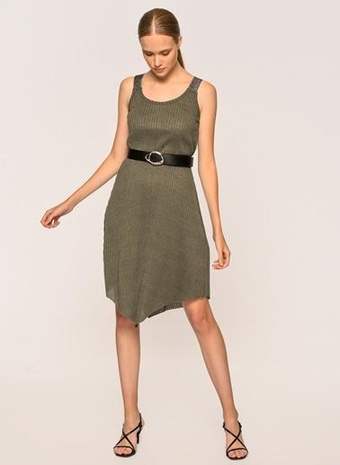 Loves You Askısı Pırıltılı Kaşkorse Çan Elbise Haki